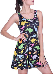 Round Neck Cartoon Printed Sleeveless Mini Skater Dress