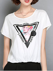 Summer  Chiffon  Women  Round Neck  Printed  Short Sleeve Short Sleeve T-Shirts