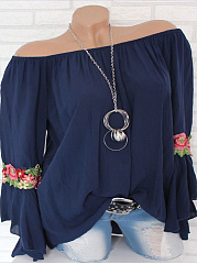 Round Neck  Bowknot Embroidered Loose Fitting  Floral  Bell Sleeve Blouses