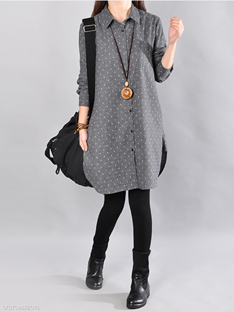 Casual Polka Dot Curved Hem Shirt Dress