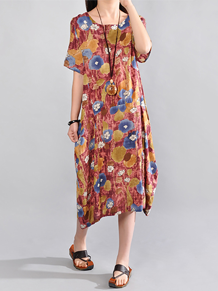 Round Neck  Printed Loose Maxi Dress