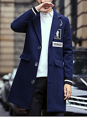 Men Lapel Flap Pocket Decorative Patch Longline Coat