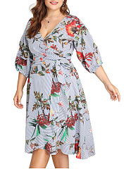 Deep V-Neck  Flounce  Printed Plus Size Midi & Maxi Dress