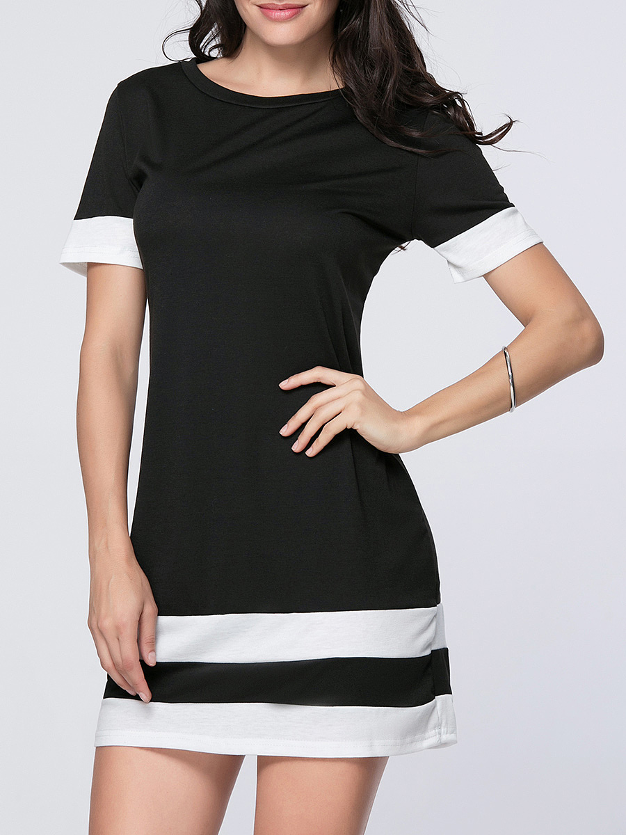Round Neck Trendy Color Block Striped Bodycon Dress