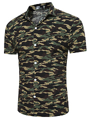 Fold-Over Collar  Camouflage  Short Sleeve Short Sleeves