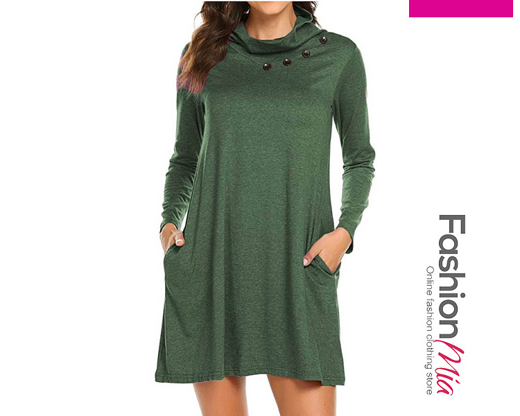 Band Collar  Patch Pocket Single Breasted  Plain Shift Dress CFFE73844F55