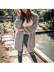 Long Soft Cardigan In Solid Color