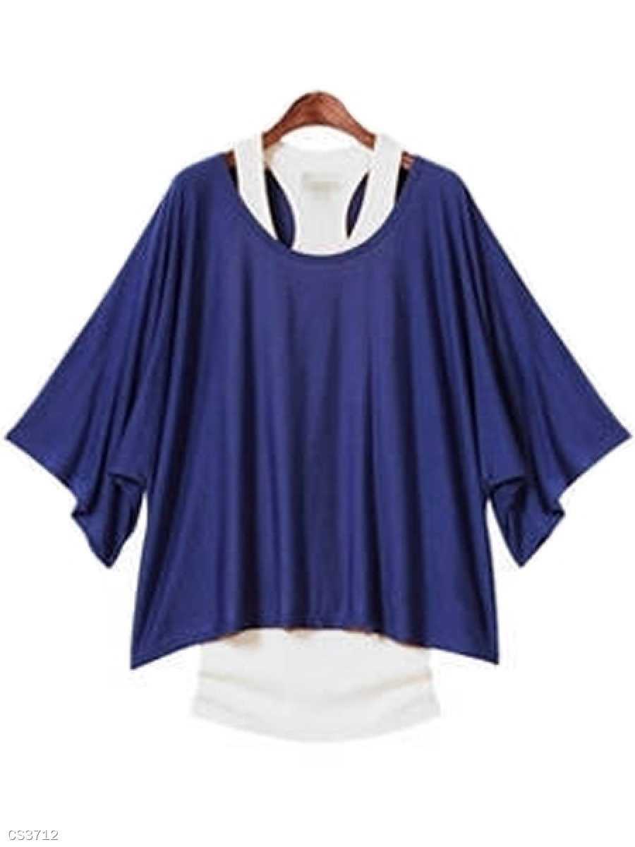 Spring Summer  Polyester  Women  Asymmetric Hem  Plain Short Sleeve T-Shirts