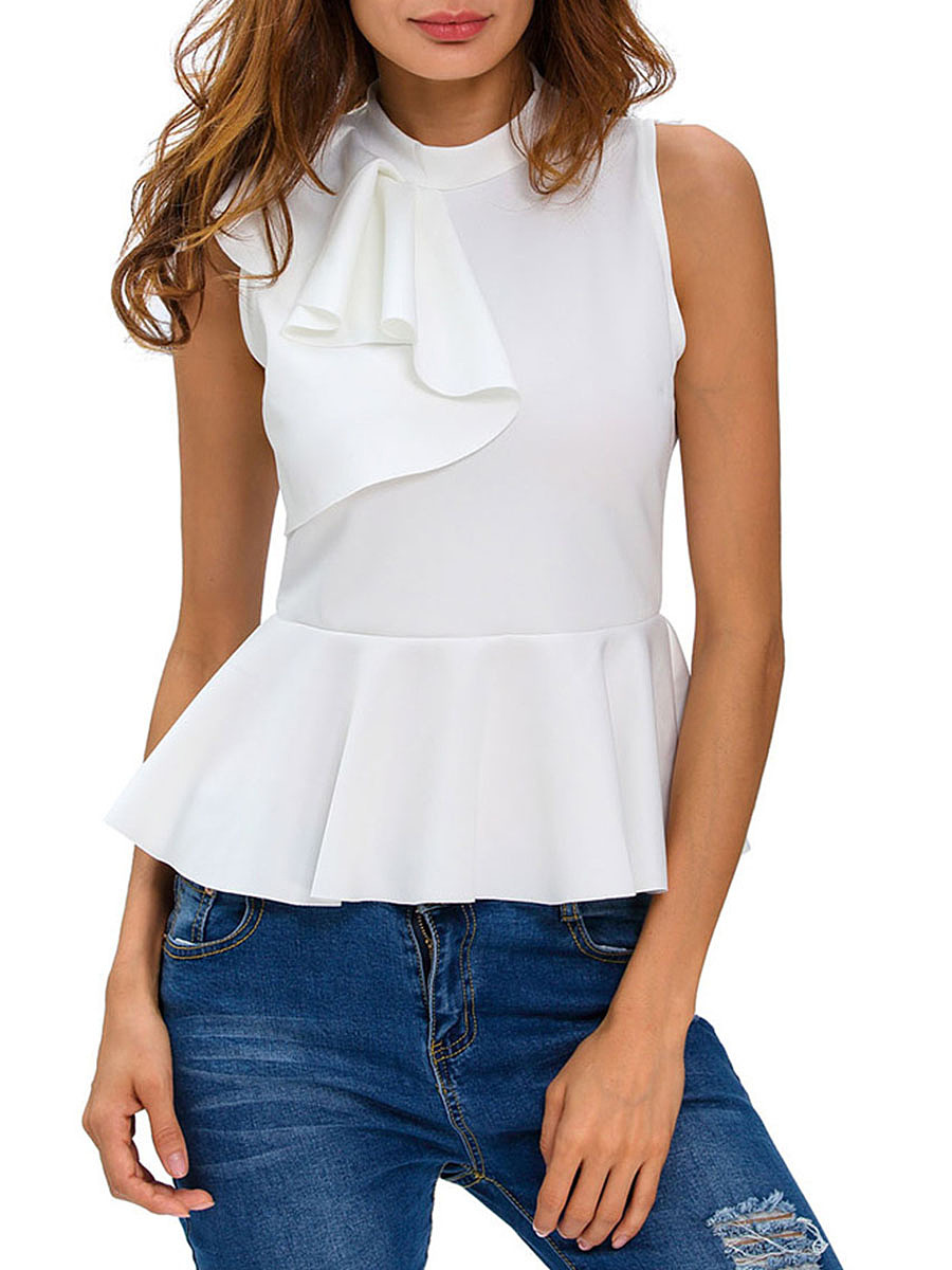 Peplum Band Collar Flounce Plain Sleeveless T-Shirt