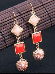 Geometric Imitation Stone Link Drop Earrings