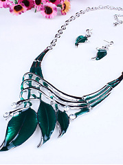 Classic Color Leaves Necklace Earrings Set