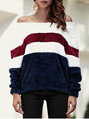 Word Collar  Color Block Striped  Long Sleeve Sweatshirts