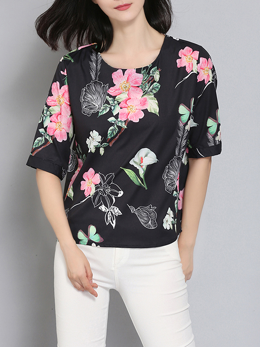 Round Neck  Floral Printed Blouse
