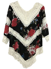 V-Neck  Crochet  Floral Hollow Out Tunic