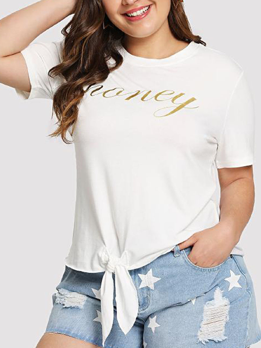 Round Neck  Printed  Short Sleeve Plus Size Blouses&T-Shirt