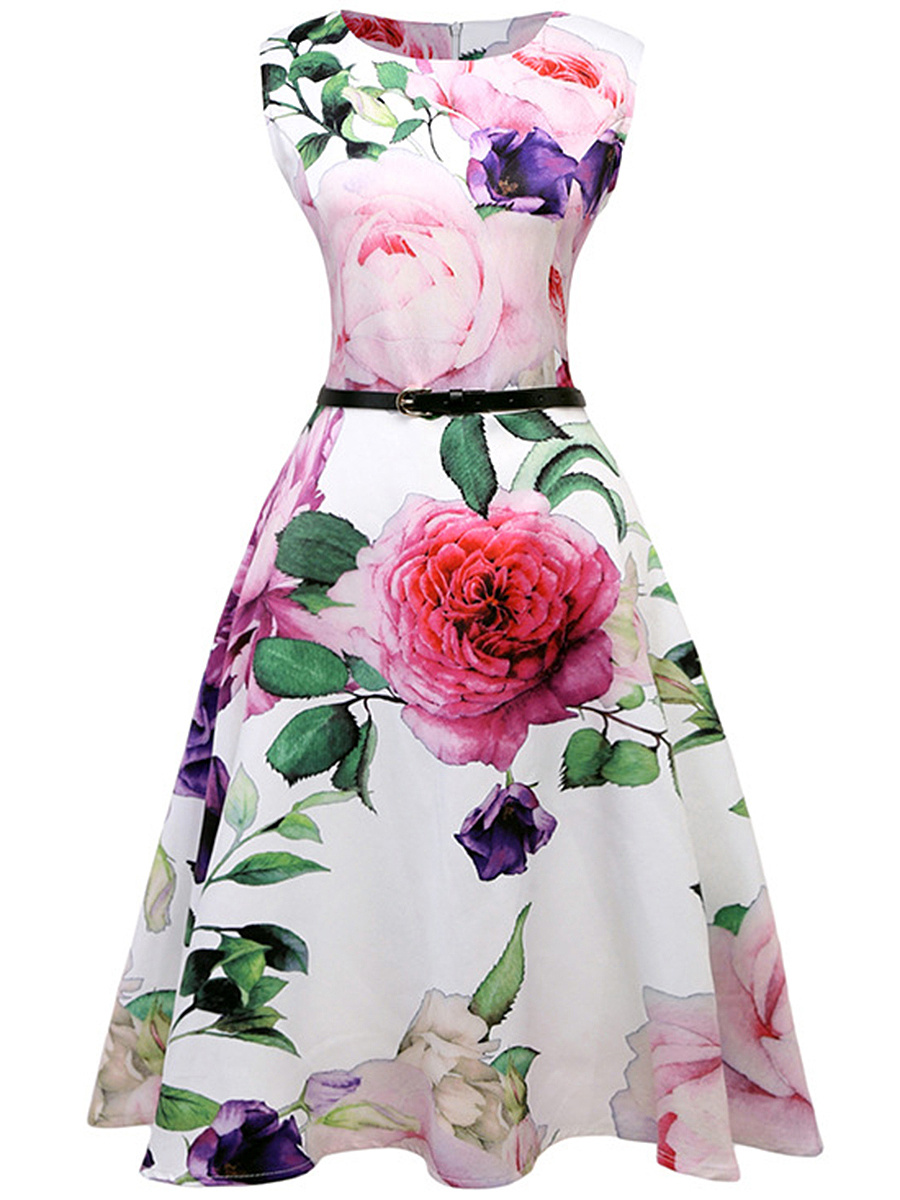 Round Neck Belt Artistic Floral Printed Skater Dress
