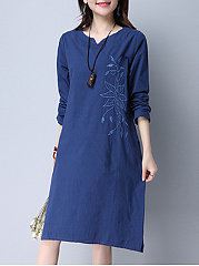 Split Neck Embroidery Solid Midi Shift Dress