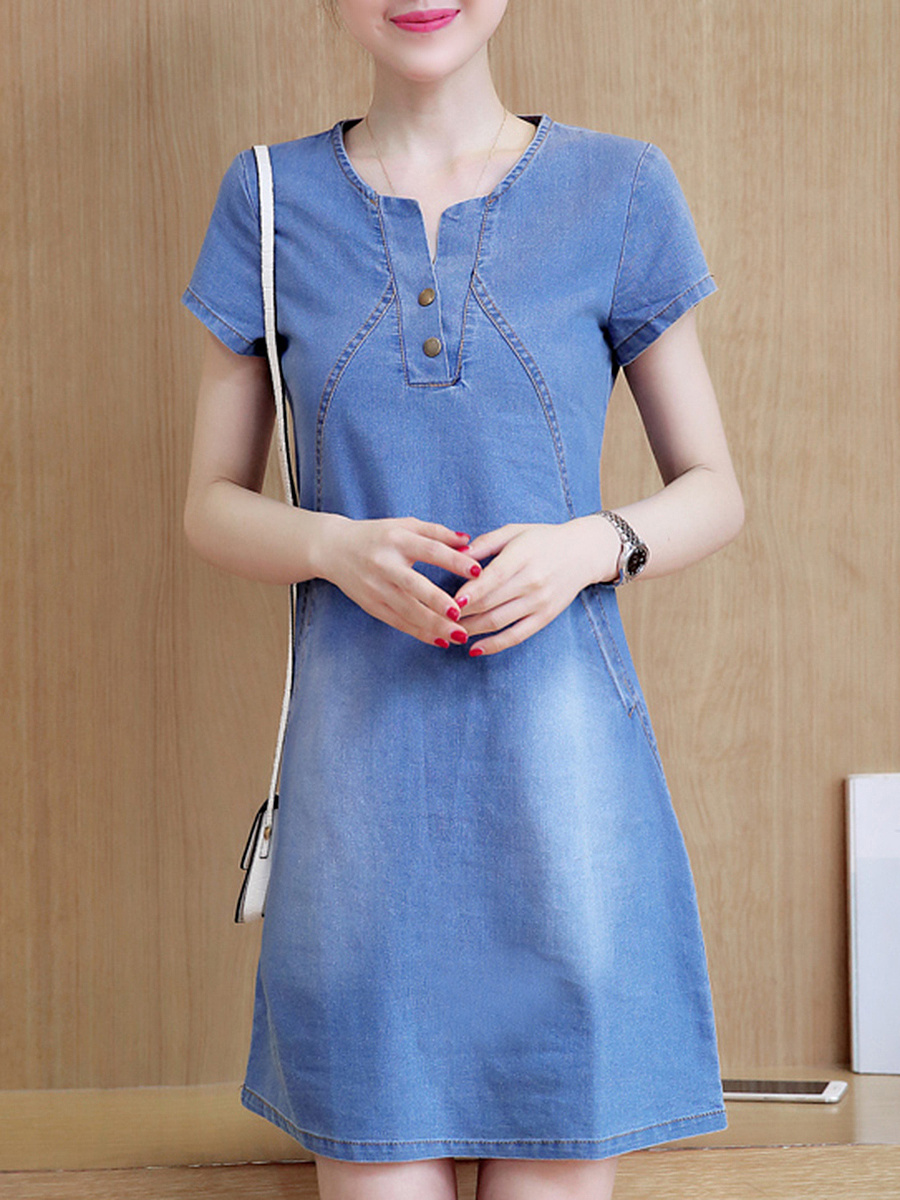 Denim Split Neck Light Wash Pocket Bodycon Dress