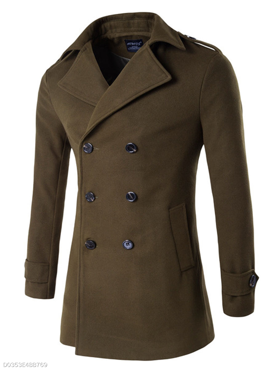 Men Lapel Plain Double Breasted Pocket Woolen Coat