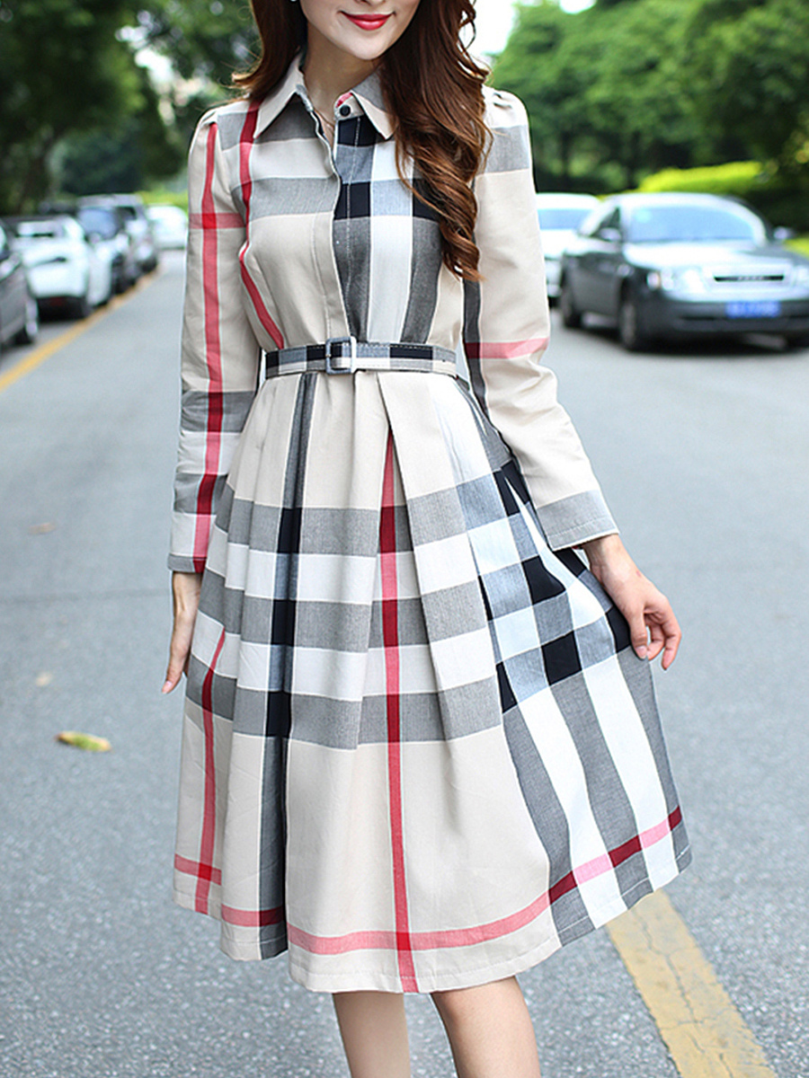 Vintage Classic Plaid Belt Maxi Dress
