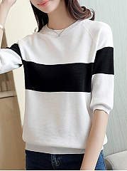 Round Neck  Color Block Sweaters Pullover