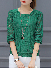 Round Neck  Plain Lace Long Sleeve Blouse