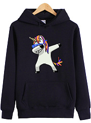Lovely Unicorn Printed Kangaroo Pocket Hoodie