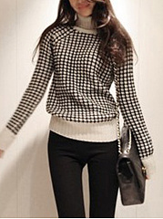 Turtleneck  Plaid  Long Sleeve Sweaters Pullover