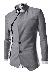 Men Designed Asymmetric Hem Vented Plain Men Blazer