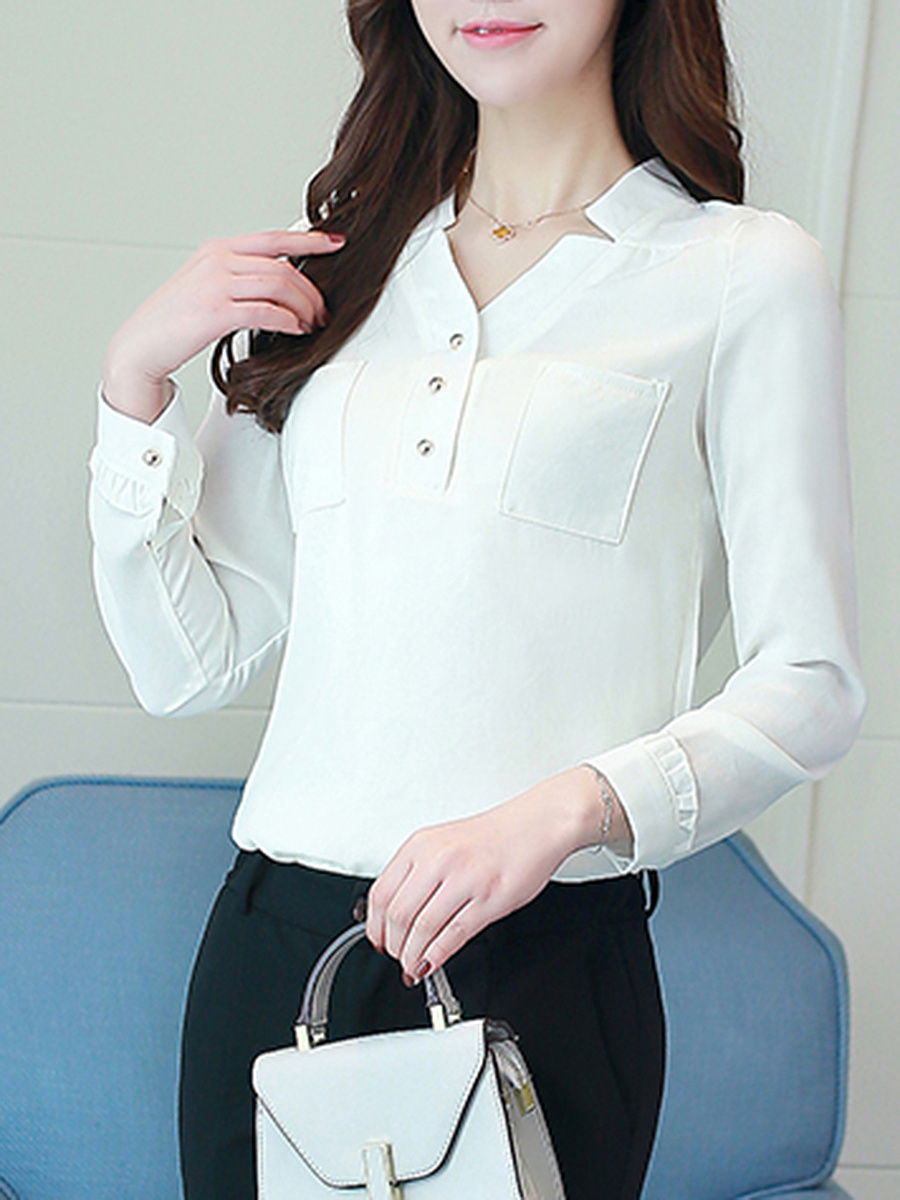 V-Neck Chiffon Plain Long Sleeve T-Shirt