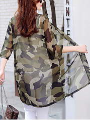 Collarless  See-Through  Camouflage Kimono