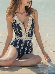 Halter  Decorative Lace  Printed One Piece