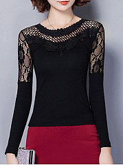 Autumn Spring  Lace  Women  Round Neck  Decorative Lace See-Through  Plain Long Sleeve T-Shirts