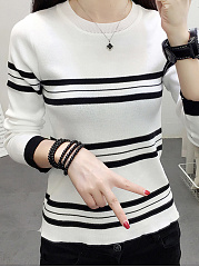 Color Block Striped  Long Sleeve Sweaters Pullover
