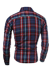 Turn Down Collar  Plaid  Long Sleeve Long Sleeves
