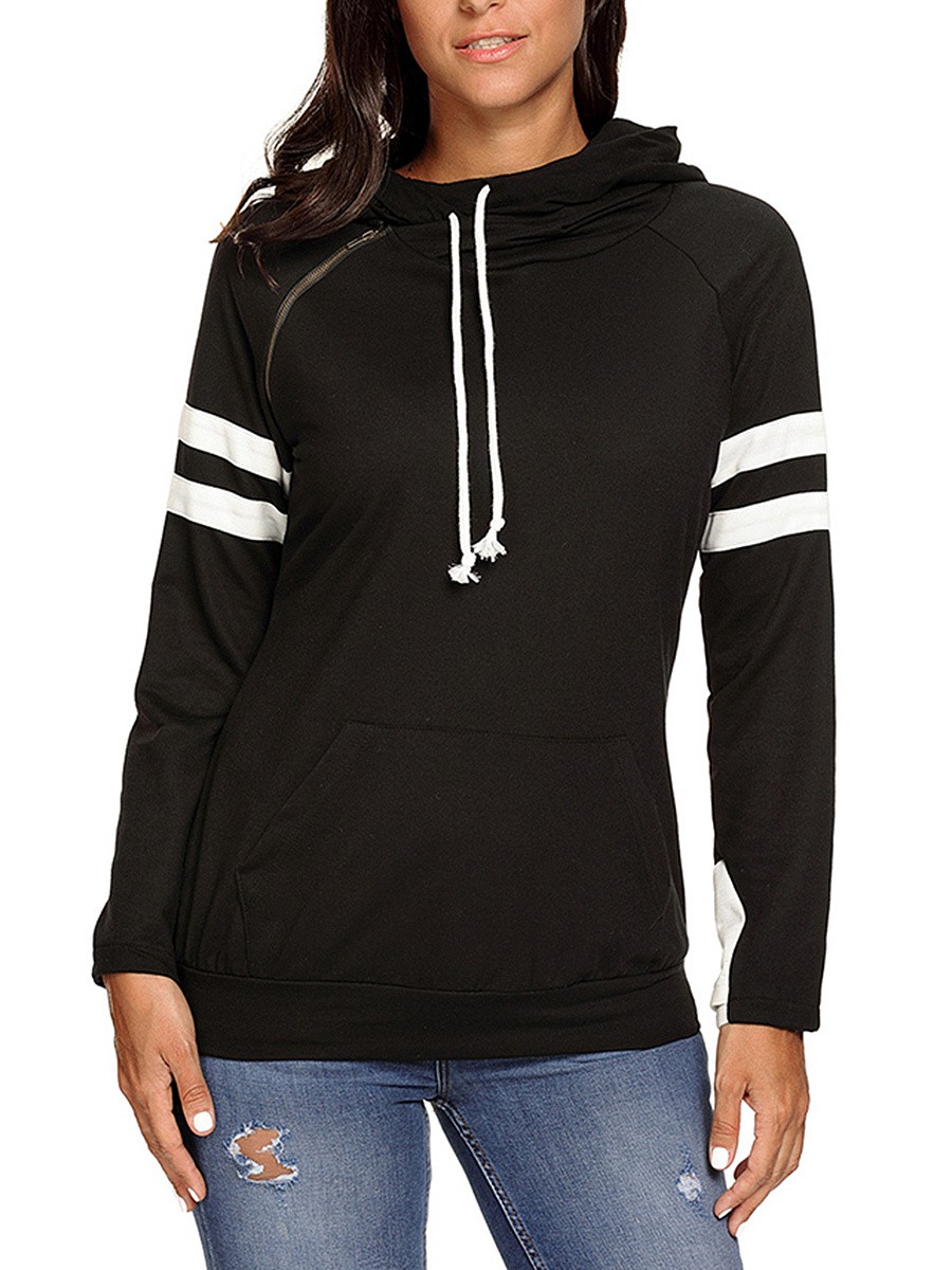 Kangaroo Pocket Zips  Striped Hoodie