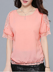 Summer  Polyester  Women  Round Neck  Decorative Lace  Plain  Short Sleeve Blouses