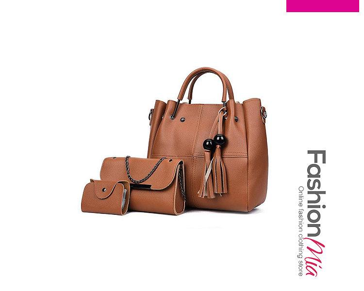 Decrotive Tassle Plain Three Pieces Shoulder Bags For Women