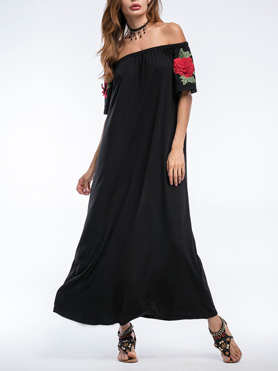 Loose Off Shoulder Embroidery Floral Patch Maxi Dress