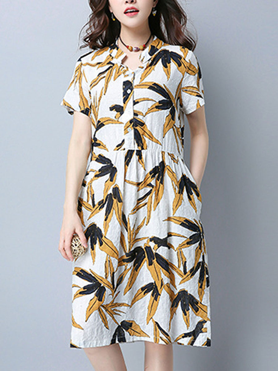 Split Neck Pocket Leaf Printed Midi Skater Dress