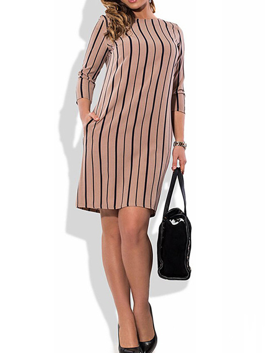Crew Neck  Vertical Striped  Blend Bodycon Dress