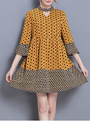 Band Collar Keyhole Printed Bell Sleeve Shift Dress