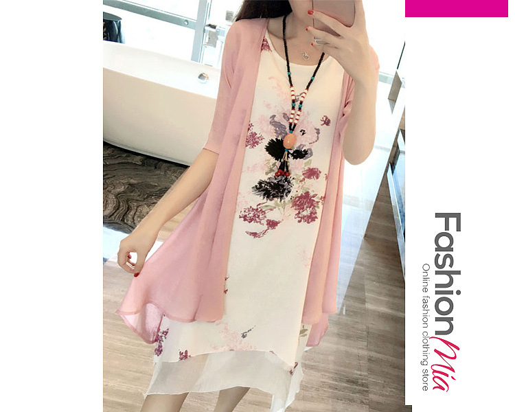 material:cotton/linen, collar&neckline:round neck, sleeve:short sleeve, embellishment:asymmetric hem, pattern_type:printed, length:asymmetric, supplementary_matters:accessory is excluded., occasion:casual*vacation, season:summer, dress_silhouette:shift, package_included:two-piece dress*1, length:87-94,bust:84-90,