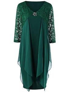 87b04475f2232 V-Neck Decorative Lace Lace Plain Plus Size Bodycon Dress