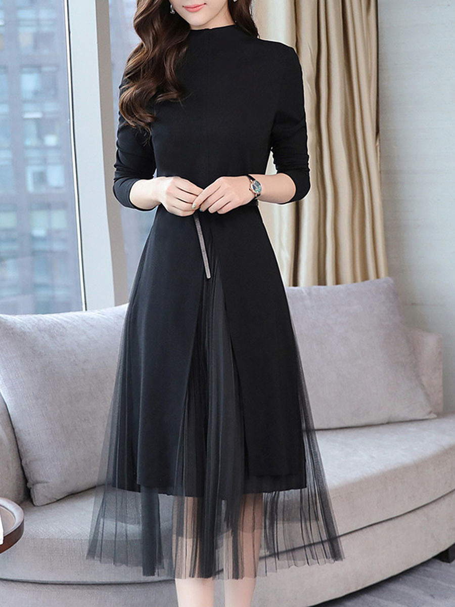 Band Collar Patchwork Belt Hollow Out Plain Midi Skater Dress