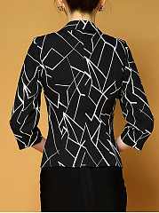 Modern Geometric Notch Lapel Single Button Blazer