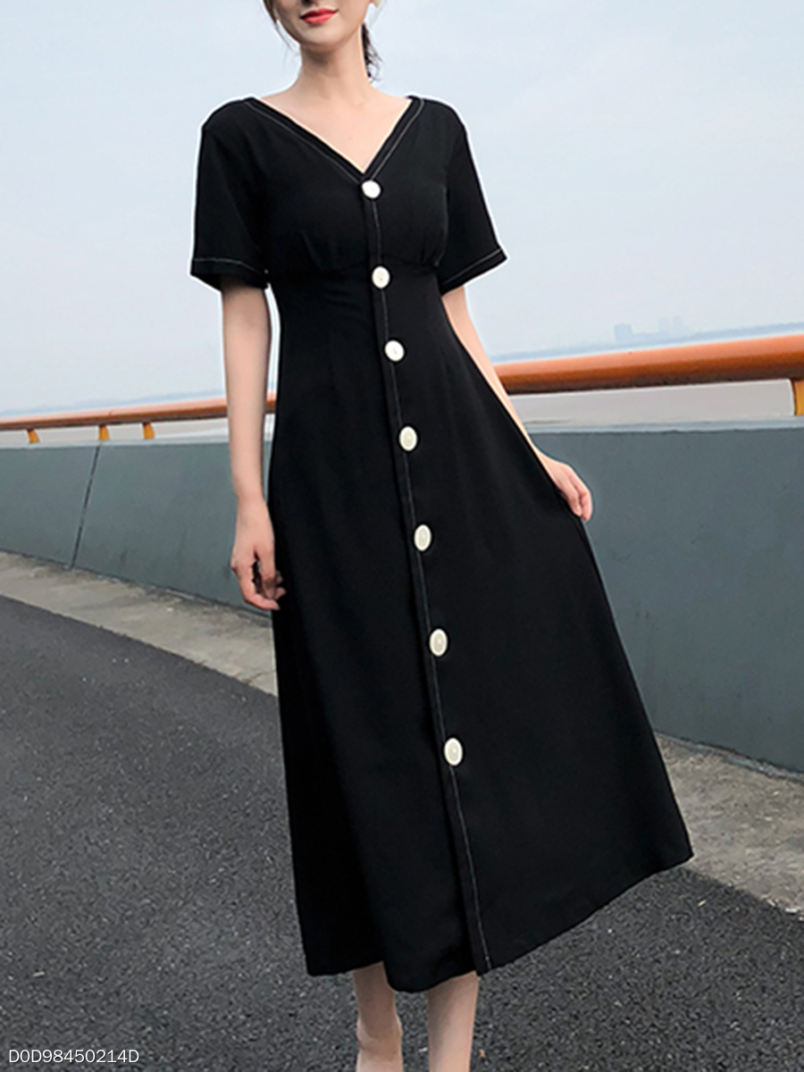 V-Neck  Contrast Stitching Decorative Button  Plain Maxi Dress