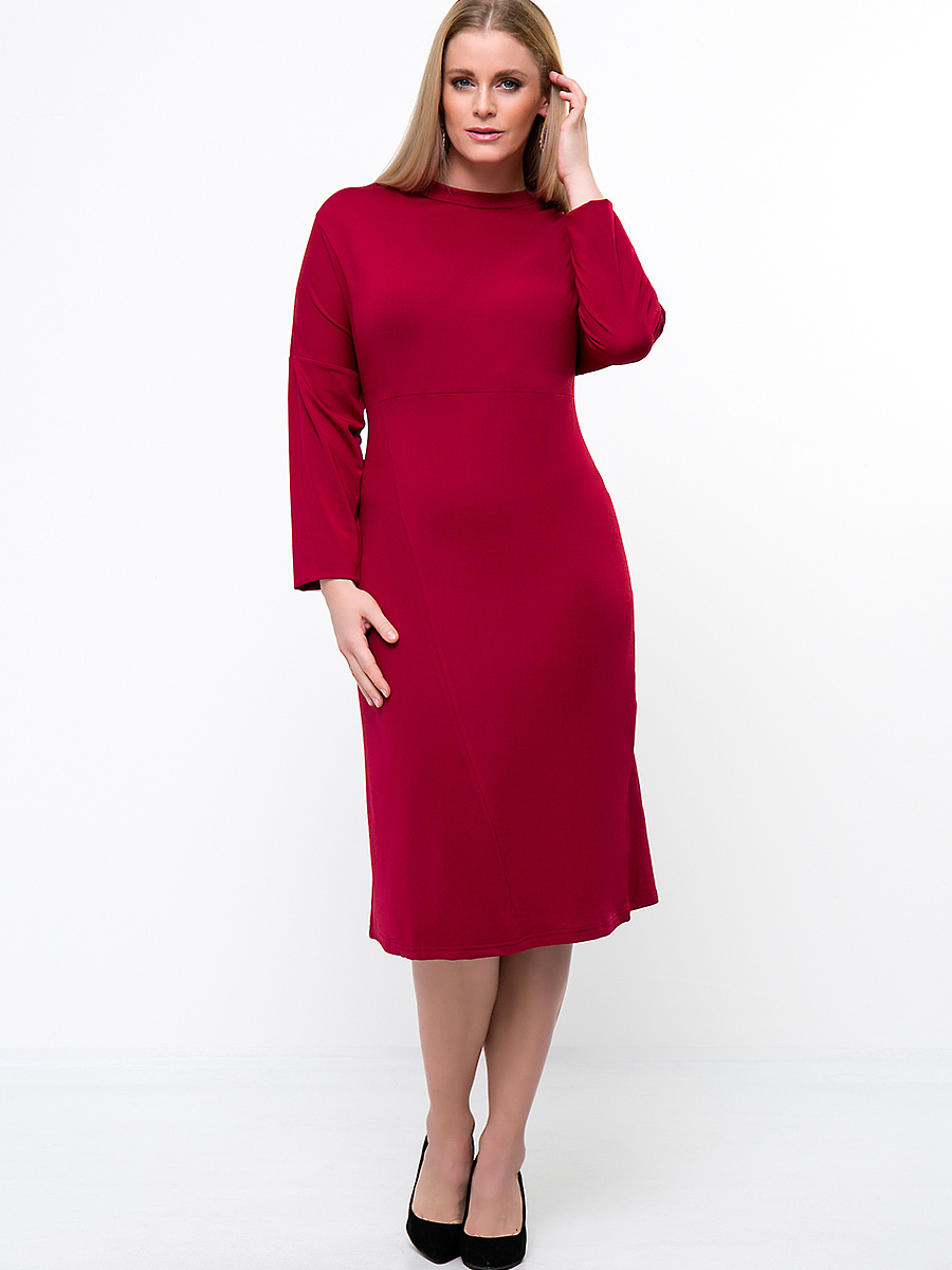 Crew Neck Solid Midi Long Sleeve Plus Size Shift Dress