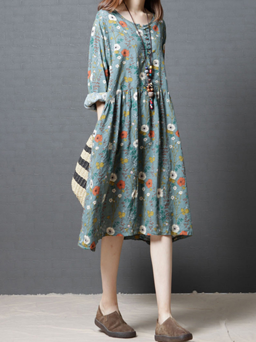 Oversized Round Neck Floral Printed Shift Dress