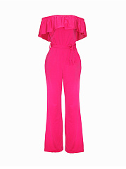 Off-Shoulder-Flounce-Plain-Wide-Leg-Jumpsuit